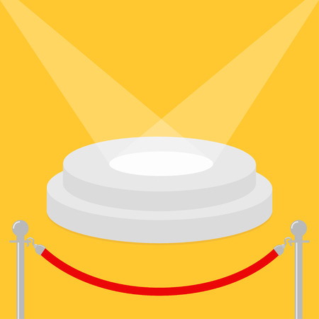 Red rope barrier stanchions turnstile facecontrol Round stage podium illuminated by spotlights. Empty pedestal for display. 3d realistic platform for design. Yellow background. Template. Flat Vector