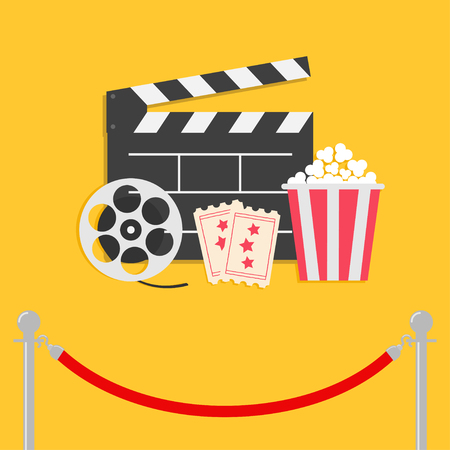 Red rope barrier stanchions turnstile facecontrol Movie reel Open clapper board Popcorn box Ticket Admit one. Three star. Cinema icon set. Flat design style. Yellow background. Vector illustration Illustration