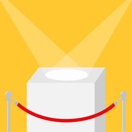 Square stage podium illuminated by spotlights. Empty pedestal for display. 3d realistic platform for design. Red rope barrier stanchions turnstile facecontrol Yellow background Template. Flat Vector Illustration