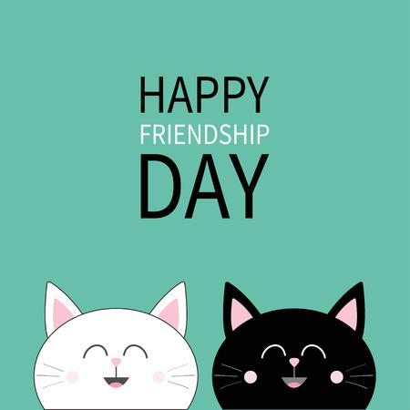 Happy friendship day black white head icon cute funny cartoon happy friendship day black white head icon cute funny cartoon character set friends m4hsunfo