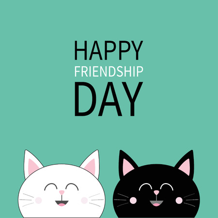 Happy Friendship Day. Black White Head Icon. Cute Funny Cartoon Character  Set. Friends