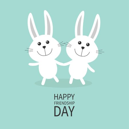 Happy Friendship Day. Two white bunny rabbit couple set Holding hands Cute cartoon smiling character. Happy emotion. Friends forever Baby greeting card Green background Flat design Vector illustration Ilustração