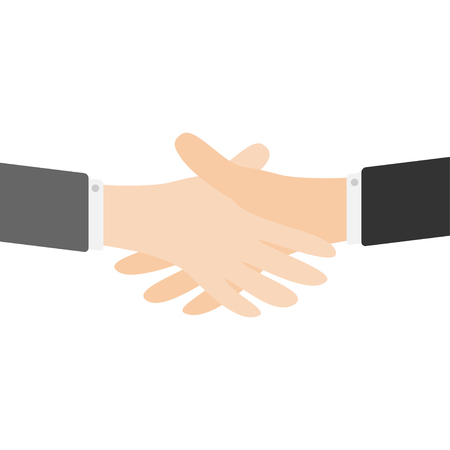 Handshake icon. Two businessman hands arms reaching to each other. Shaking hands. Close up body part. Helping hand. Business deal partnership concept. White background Isolated. Flat design. Vector Stock Vector - 83170989