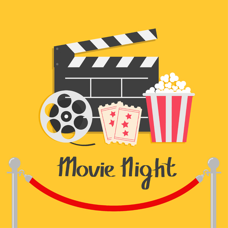 Movie night. Red rope barrier stanchions turnstile facecontrol Open clapper board reel Popcorn box Ticket Admit one Three star Cinema icon set. Illustration