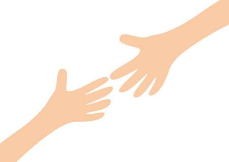 Two arms hands reaching to each other. Child and mother. Close up body part. Helping hand. Happy Valentines day. Flat design. Love soul gift concept Isolated. White background. Vector illustration Ilustração