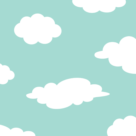 White cloud set on the sky. Fluffy clouds. Cute cartoon cloudscape. Cloudy weather sign symbols. Flat design Decoration element. Blue background. Vector illustration