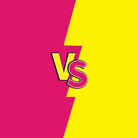 Versus letters of VS gevecht vecht competitie. Leuke cartoonstijl. Roze gele achtergrond sjabloon. Plat ontwerp. Vector illustratie