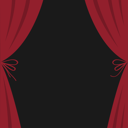 Open luxury red silk stage theatre curtain. Velvet scarlet curtains with bow. Flat design. Movie cinema premiere. Template. Black background. Isolated. Vector illustration Illustration