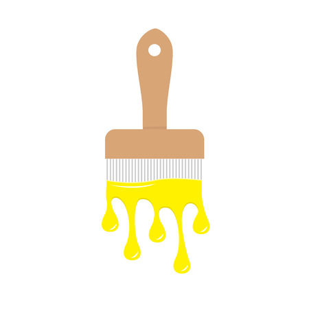 Paintbrush icon with yellow color drops. Flowing down dripping paint. Flat design Decoration element. White background. Isolated Vector illustration