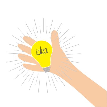 Mano que sostiene la lámpara de la bombilla de la idea. Efecto redondo de línea brillante. Interruptor de color amarillo encendido. Diseño plano. Concepto de negocio. Fondo blanco. Aislado. Ilustración del vector Ilustración de vector