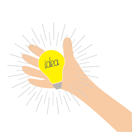 Hand holding idea light bulb lamp. Shining line round effect. Yellow color switch on. Flat design. Business concept. White background. Isolated. Vector illustration Illustration
