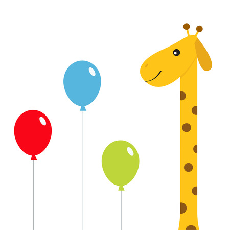 Three balloons. Giraffe with spot in the zoo. Cute cartoon character.  Wild savanna jungle african animals collection. Education cards for kids. Isolated White background Flat design Vector.
