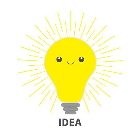 Idea light bulb icon with happy face. Shining line round effect. Cute cartoon character. Yellow color switch on. Business concept.White background Isolated Vector illustration. Illustration