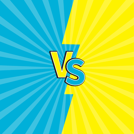 Versus letters or VS battle fight competition. Cute cartoon style. Blue yellow background template. Sunburst with ray of light. Starburst effect. Flat design. Vector illustration.
