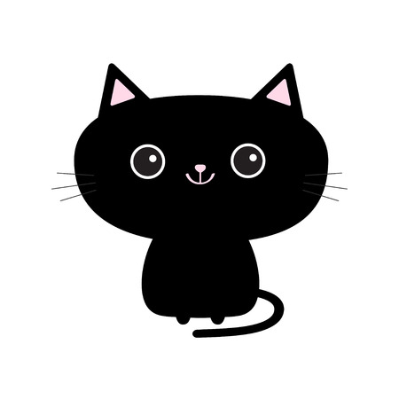 Cute black cat icon. Funny cartoon character. Tail, whisker, big eyes. Çizim