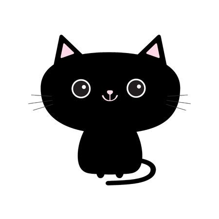 Leuk zwart kattenpictogram. Grappig stripfiguur. Staart, bakkebaard, grote ogen.