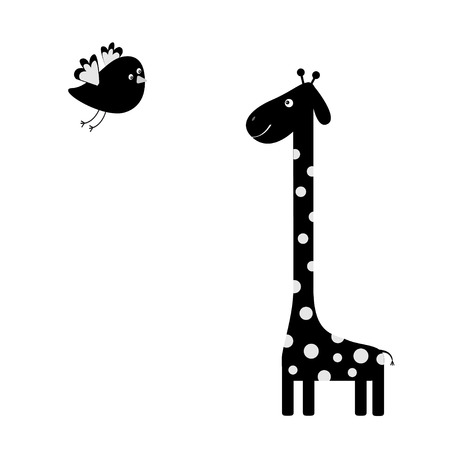 camelopard: Giraffe with spot. Flying bird. Black silhouette shape. Zoo animal. Cute cartoon character.