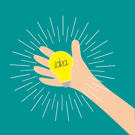 Hand holding idea light bulb lamp. Shining line round effect. Yellow color switch on. Flat design. Business concept. Green background. Isolated. Vector illustration