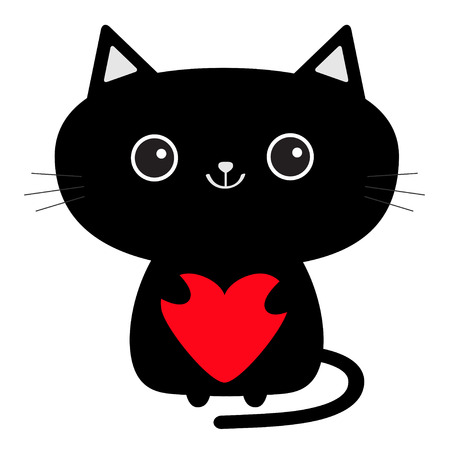 Cute black cat icon holding red heart. Funny cartoon character. Baby pet collection White background Isolated.