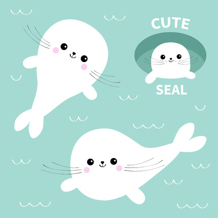 Harp baby seal pup set. Cute cartoon character. Ice-hole. Happy baby animal collection. Swimming floating on water with wave. Blue background. Flat design Vector illustration Vectores