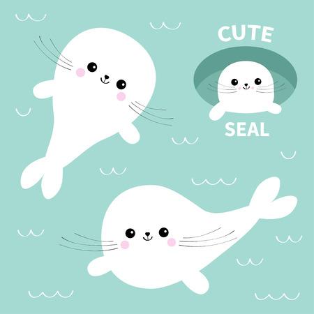 Conjunto de cría de foca arpa. Personaje de dibujos animados lindo Pozo de hielo. Bebé feliz colección de animales. Nadar flotando en el agua con olas. Fondo azul. Diseño plano ilustración vectorial