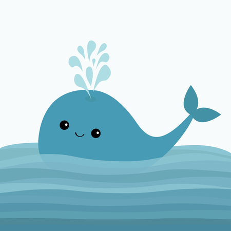 Blue whale and fountain, flat design on white background vector illustration