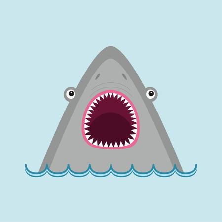 サメの頭は大きな口を開けて顔し、鋭い歯。かわいい漫画の動物キャラクター。赤ちゃん教育カード。海海の野生動物。水の波。フラットなデザイ