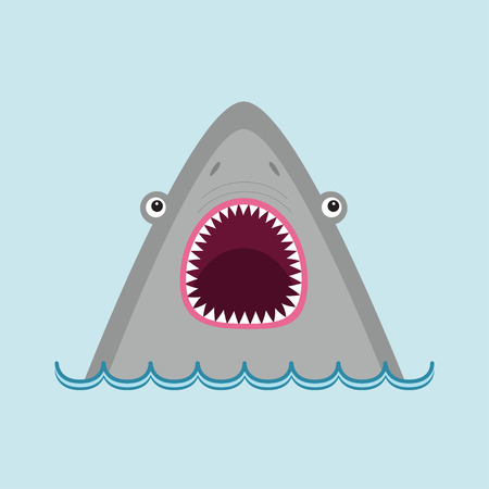 Shark head face with big open mouth and sharp teeth. Cute cartoon animal character. Baby educational card. Sea ocean wild animal. Water wave. Flat design. Isolated Blue background Vector illustration