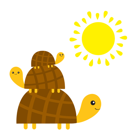 Three turtle tortoise pyramid. Yellow sun. Cute cartoon character family set. Father, mother, baby. Pet animal collection. Education cards for kids. White background. Isolated. Flat design Vector