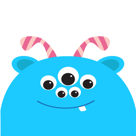 Blue monster head with ears, tooth and horns. Black color. Funny Cute cartoon character.