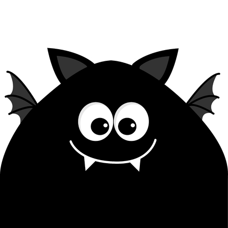 alien face: Funny monster head silhouette with big eyes, fang tooth and wings. Cute cartoon character.