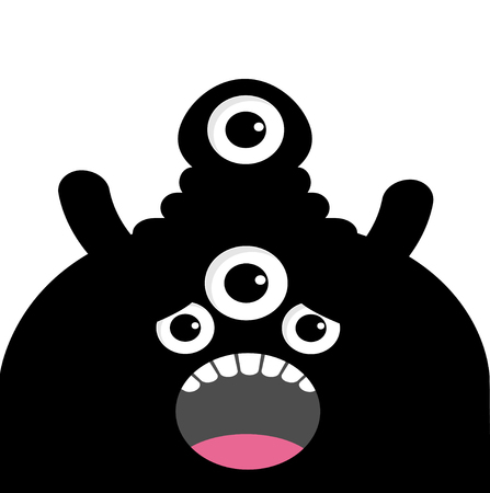 Funny Monster head silhouette vector Ilustrace