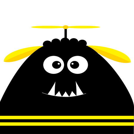 Funny monster head silhouette with fang tooth and propeller. Cute cartoon character. Black yellow color. Baby collection. Isolated. Happy Halloween card. White background. Flat design. Vector Illustration