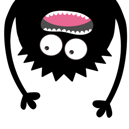 Screaming monster head silhouette. Two eyes, teeth, tongue, hands. Hanging upside down. Black Funny Cute cartoon character. Baby collection. Happy Halloween card. Flat design. White background. Vector