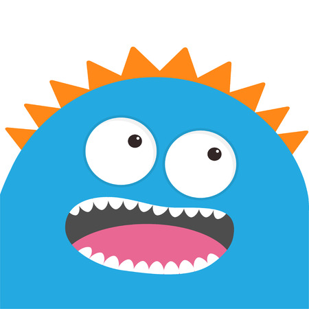 Blue monster head with two eyes, teeth, tongue. Funny Cute cartoon character. Baby collection. Happy Halloween card. Flat design. White background. Vector illustration Illustration