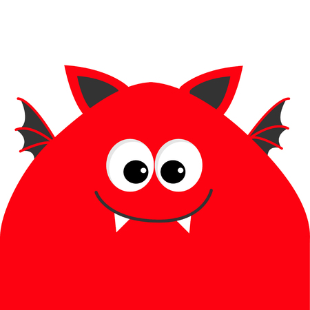 Funny monster head with big eyes, fang tooth and wings. Cute cartoon character. Red color. Baby collection. Isolated. Happy Halloween card. Flat design. Vector illustration