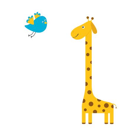 Giraffe and Flying bird cute vector