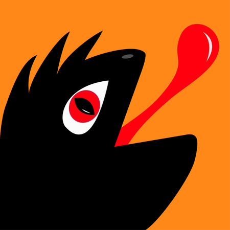 Monster reptile head silhouette with red devil eye, tongue. Cute cartoon funny character.
