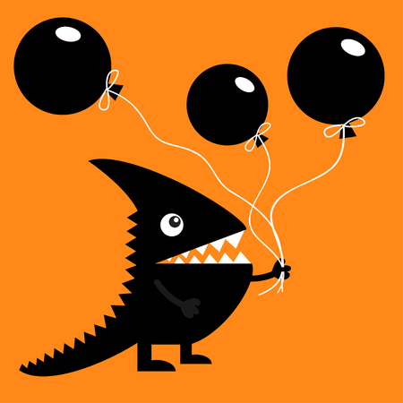 Black silhouette monster with sharp tail horn fang tooth eye. Holding three balloons. Illustration