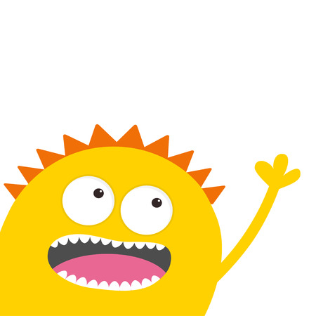 Yellow monster head with two eyes, teeth, tongue, waving hand. Funny Cute cartoon character. Baby collection. Happy Halloween card. Flat design. White background. Vector illustration Çizim