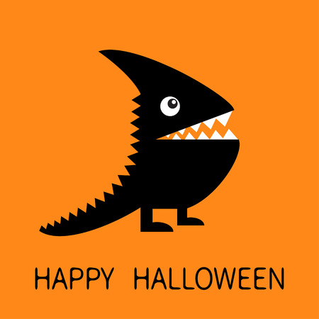 Happy Halloween greeting card. Black silhouette monster with sharp tail, horn, fang tooth, eye.