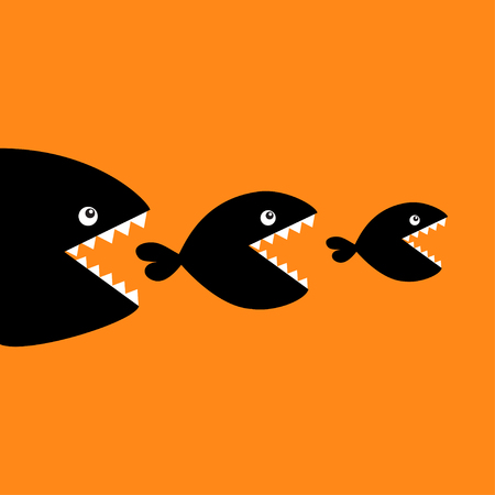 Fish monster eating each other. Three fishes. Food chain. Black color silhouette. Cute cartoon character set. Baby kids collection. Happy Halloween. Orange background. Isolated. Flat design Vector Illustration