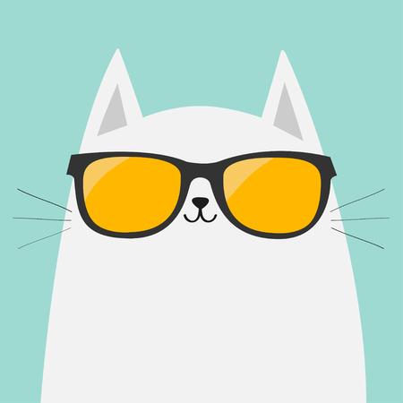 White cat wearing orange sunglasses eyeglasses. Yellow lenses. Cute cartoon funny character. Kitten in eyeglasses. Fashion animal. Blue background. Isolated. Flat design Vector illustration Illustration