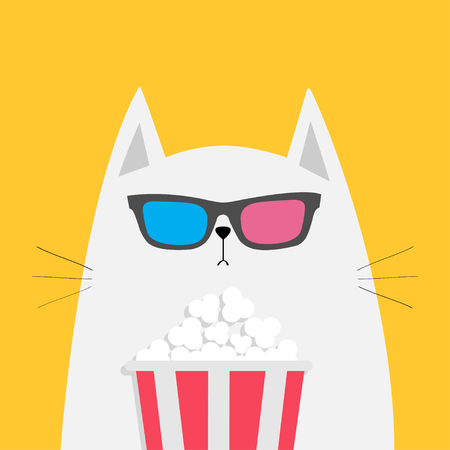 White cat eating popcorn. Cinema theater. Cute cartoon funny character. Film show. Kitten watching movie in 3D glasses. Yellow background. Isolated. Flat design. Vector illustration