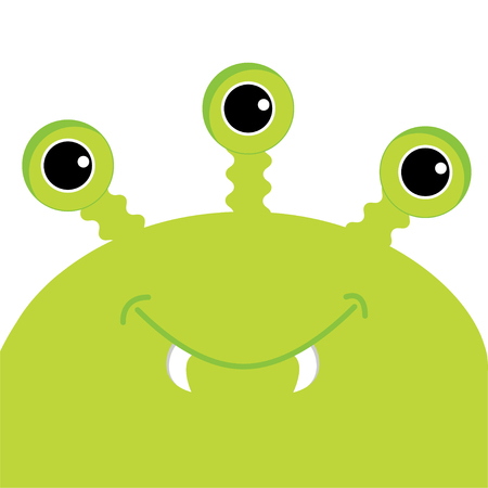 Green monster head with three eyes, fang tooth. Funny Cute cartoon character.