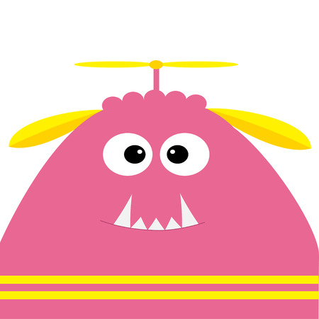 Funny monster head with fang tooth and propeller. Cute cartoon character. Pink color.