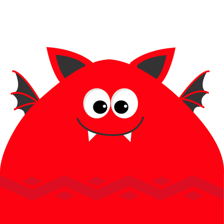 Funny monster head with fang tooth and wings. Cute cartoon character. Red color.