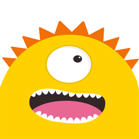 Yellow monster head with one eye, teeth, tongue. Funny Cute cartoon character. Illustration