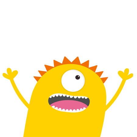 Screaming monster head with two eyes, hands, teeth, tongue, waving. Funny Cute cartoon character. Baby collection. Happy Halloween card. Flat design. White background. Vector illustration