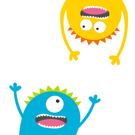 Screaming monster set. Head silhouette. Two eyes, teeth, tongue, hands. Hanging upside down. Funny Cute cartoon character Baby collection. Happy Halloween. Flat design. White background Vector Illustration